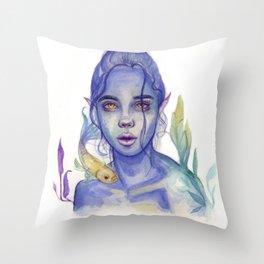 Indigo Mermaid Girl Throw Pillow