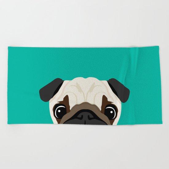 Peeking Pug Beach Towel