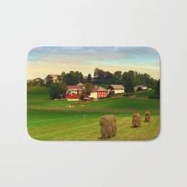 Hay bales and country village | landscape photography Bath Mat