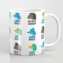 Misfit Animals: Black Sheep, Odd Duck, Lone Wolf Pattern Coffee Mug