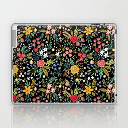 Amazing floral pattern with bright colorful flowers, plants, branches and berries on a black backgro Laptop & iPad Skin