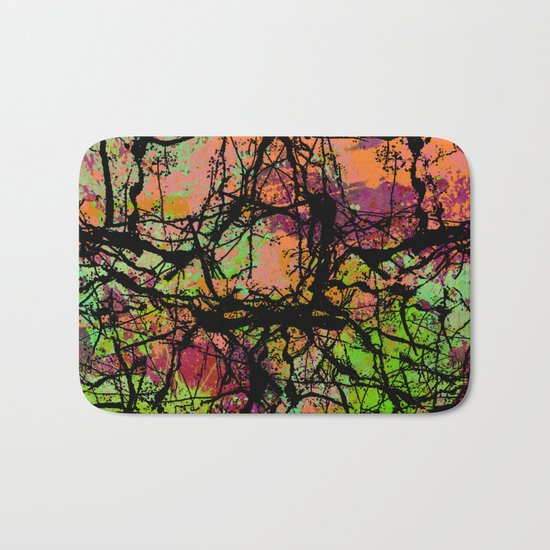 Cracks And Colour - Pastel orange, blue and green abstract with black marble effect Bath Mat