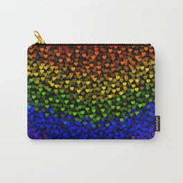 Tiny Hearts Big Love! Rainbow Black Background  Carry-All Pouch
