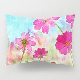 Symphony In Pink, Watercolor Wildflowers Pillow Sham