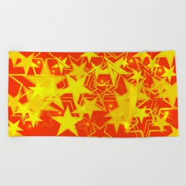Yellow background in red and orange stars. Beach Towel