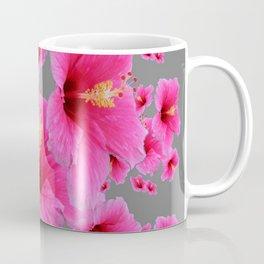 CHARCOAL GREY GIRLY PINK HIBISCUS GARDEN ART Coffee Mug