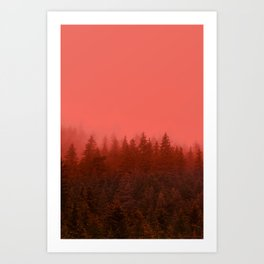 0388 Chocolate Forest with Living_Coral Fog, AK Art Print