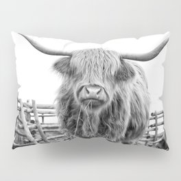 Highland Cow in a Fence Black and White Pillow Sham