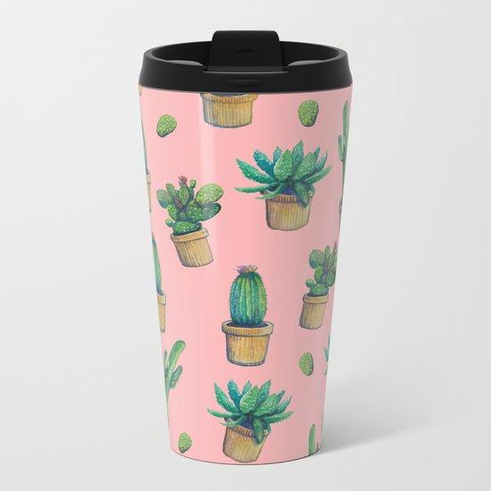 cactus pink water color Metal Travel Mug