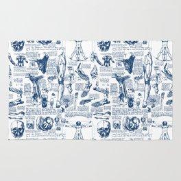 Da Vinci's Anatomy Sketchbook // Dark Blue Rug