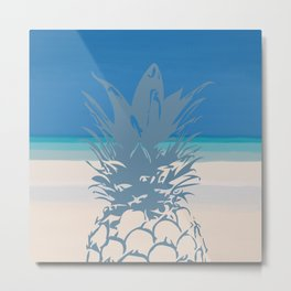 Pineapple Tropical Beach Design Metal Print