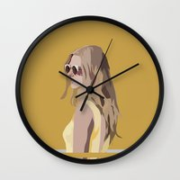 golden Wall Clocks featuring Golden by Anna McKay