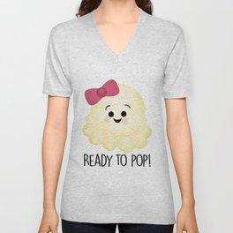 Ready To Pop - Popcorn Pink Bow Unisex V-Neck