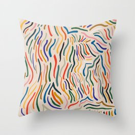 Wavy Vibes Modernist Palette Throw Pillow