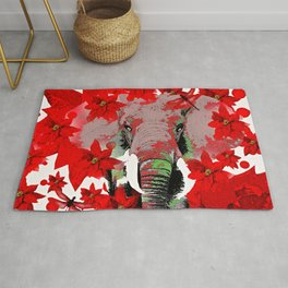 Elephant and Red Flowers Rug