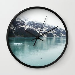 Hubbard Glacier Snowy Mountains Alaska Wilderness Wall Clock