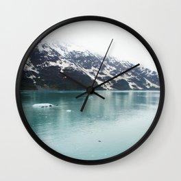 Hubbard Glacier Snowy Mountains Alaska Wilderness Wall Clock