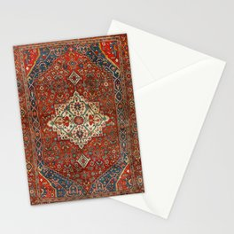 North-West Persia Bijar Old Century Authentic Colorful Royal Red Blue Green Vintage Patterns Stationery Cards