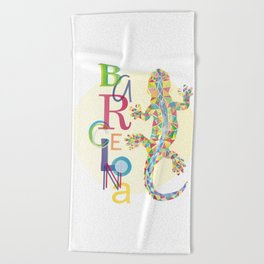 Barcelona City Lizard Beach Towel