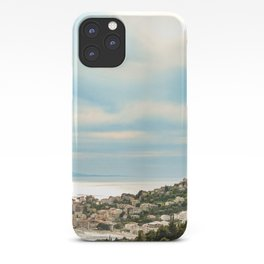 European Sunset | Colorful Costal Clouds Skyline Charming Ocean Town Baby Blue Yellow Tones iPhone Case