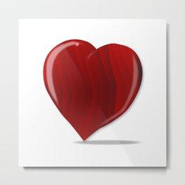 Red Wooden Heart Metal Print