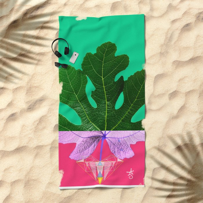 Fig Leaf Diamond Christmas - Other Half and Half Beach Towel