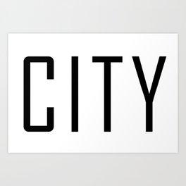 Manchester City Black Art Print