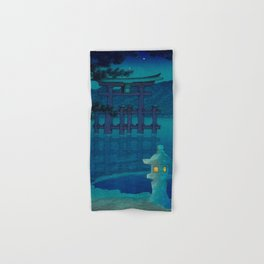 Japanese Woodblock print Torii In The Lake During Night Blue Monochromatic Hand & Bath Towel
