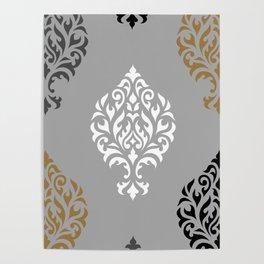 Orna Damask Ptn BW Grays Gold Poster