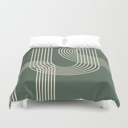 Minimalist Lines in Forest Green Duvet Cover