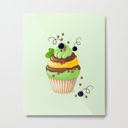 cupcake with black currant and mint Metal Print