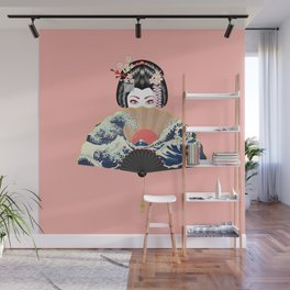 Portrait of japanese geisha woman with traditional fan design Wall Mural