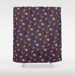 Purple Goldfish Pattern Shower Curtain