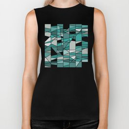 Turquoise and grey Biker Tank