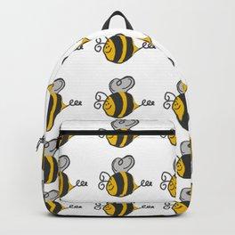 Hand drawn black yellow stripes cute honey bee illustration Backpack