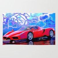 ferrari Area & Throw Rugs featuring Ferrari Enzo by JT Digital Art