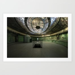Art Deco Control Room inside of an abandoned power station Art Print