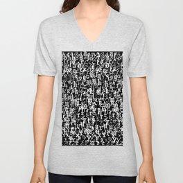 alphabet letters black and white - typography font  pattern Unisex V-Neck
