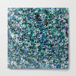 Blue Army Camouflage Abstract Splat Painting Metal Print