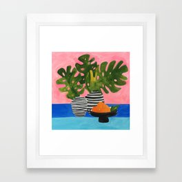 Pink Wall Monstera Framed Art Print