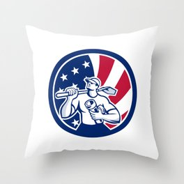 American Drainlayer USA Flag Icon Throw Pillow