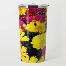FUCHSIA PINK GARDEN YELLOW COREOPSIS FLOWERS Travel Mug