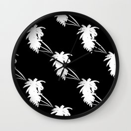 Palm Tree Pattern Black and White Wall Clock