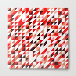Red Triangle Pattern Metal Print