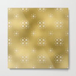 Merry christmas- white winter stars on gold pattern I Metal Print
