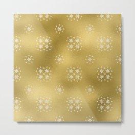 Merry christmas- white winter stars on gold pattern I Metal Print