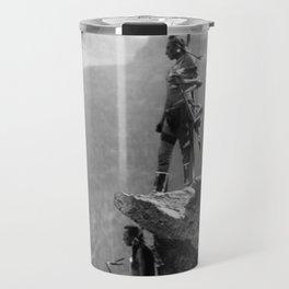 Eagle's Lookout, Blackfoot tribe members, Glacier Park, Montana, 1913 black and white photography Travel Mug