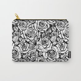 Rose Bush - Black and White Pattern Carry-All Pouch