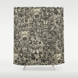 gargoyles vintage black Shower Curtain