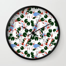 Red and blue koi fish pond. Japanese Print Pattern Wall Clock